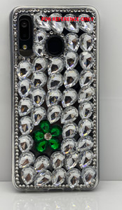 Iphone 8 Plus/ 7Plus  3D Bling Silver With Green Flower