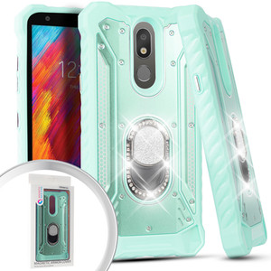Lg Aristo 4+/Escape Plus MM Magnetic Rugged Bling Case  W/Kickstand Teal