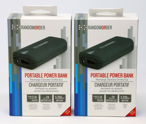 Random Order Portable Power Bank Charger 5,200 mAh - Retail Packaging - Gray