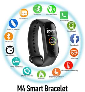 M4 Fitness Tracker Smart Watch Dynamic Heart Rate Blood Pressure Blood Oxygen Monitor Waterproof Bracelet Blutooth Wristband Pedometer-Black
