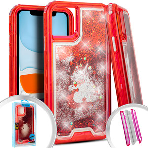 Iphone 11 PRO MAX Water Glitter Hybrid red