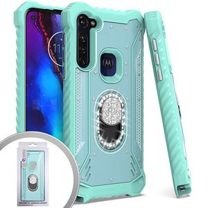 Motorola Stylus G MM Magnetic Rugged Bling Case W ks Teal