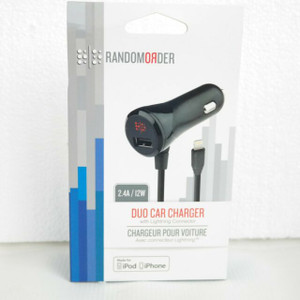 Random Order Duo Car Charger With 4ft Lightning Cable and USB Port 2.4a