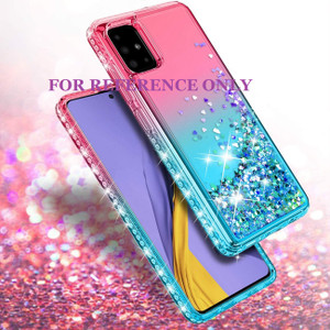 Samsung A21 MM Water Glitter Case Green and Pink