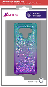 Lg Stylo 6 MM Water Glitter Case Teal and Purple