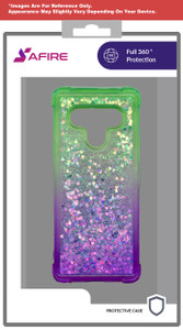 Lg Stylo 6 MM Water Glitter Case Green and purple