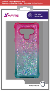 Lg Stylo 6 MM Water Glitter Case Green and Pink