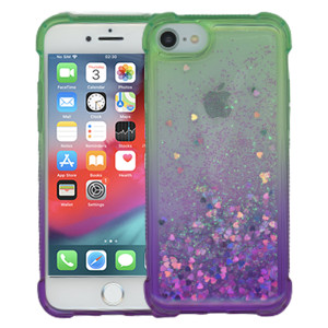 Iphone 8/7/SE 2020 MM Water Glitter Case Green and Purple