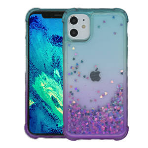 Iphone 11 MM Water Glitter Case Teal  and Purple