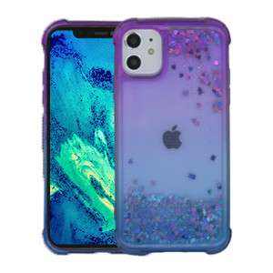 Iphone 11 MM Water Glitter Case Blue  and Purple