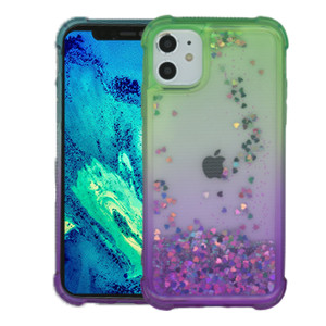 Iphone 11 MM Water Glitter Case Green and Purple