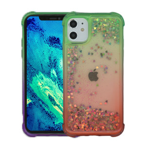 Iphone 11 MM Water Glitter Case Green and Red