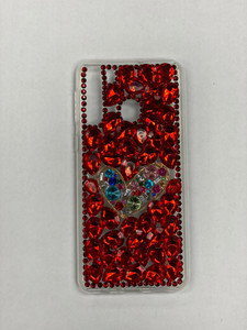 Samsung A21 MM 3D Bling Red With Silver Heart