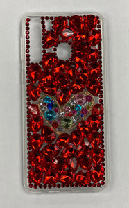 Samsung A01 MM 3D Bling Red With Silver Heart