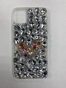 Samsung A01 MM 3D Bling Silver With Heart