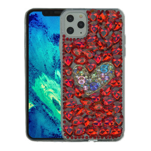 Iphone 11 Pro Max MM 3D Bling Red With Silver Heart