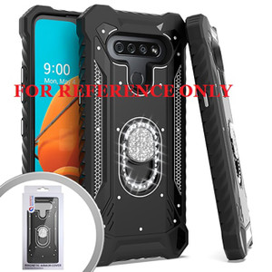 Samsung A21 MM Magnetic Rugged Bling Case W/Kickstand Black