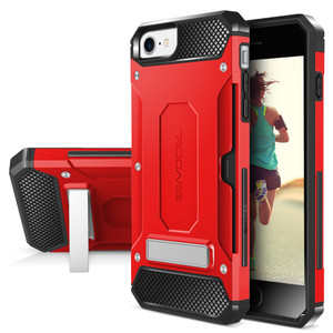 Iphone 8/7/ SE 2020 MM Armor Case With Kickstand And Credit Card Slot Red