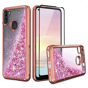 Samsung A11 MM Electroplated Water Glitter Case Rose Gold