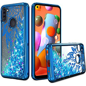 Samsung A11 MM Electroplated Water Glitter Case Blue