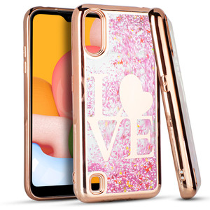Samsung A01 MM Electro Water Glitter Rose Gold Love