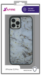 Iphone 12/12 Pro (6.1)  MM Marble Case Chrome White