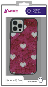 Iphone 12/12 Pro  (6.1)  MM Marble Case Hot Pink With Heart
