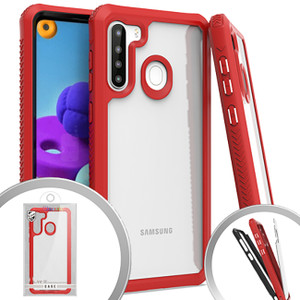 Samsung A21 MM Clear Rugged Case Red