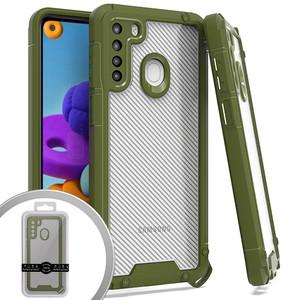 Samsung A21 MM Clear Rugged Case Green