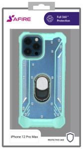 Iphone 12 Pro Max (6.7)  MM Magnetic Rugged W KS Bling Case Teal