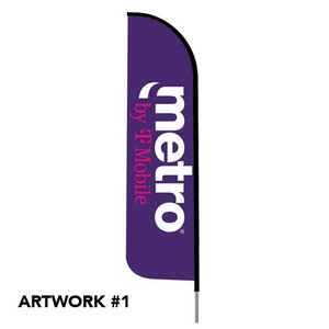 METRO BY T-MOBILE 12FT FEATHER FLAG KIT FIBERGLASS POLE & GROUND SPIKE