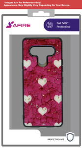 iphone  12 Pro (6.1) MM Marble case Pink With White Heart