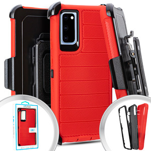 Samsung S20 MM Rugged case W/ Clip Red