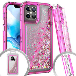 Iphone 12/12 Pro (6.1) MM Water Glitter Hybrid Case Hot Pink