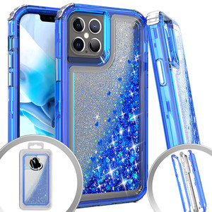 Iphone 12/12 Pro (6.1) MM Water Glitter Hybrid Case Blue