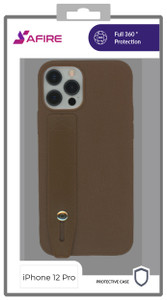 Iphone 12/12 Pro MM Premium Case with Hand Strap Brown