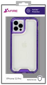 iPhone 12/12 Pro MM Rugged Hybrid Case Clear W Purple