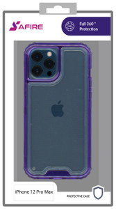 iPhone 12 Pro Max MM Rugged Hybrid Case Clear W Purple