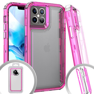 iPhone 12 Mini 5.4 MM Rugged Hybrid Case Clear W Pink