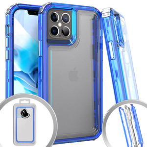 iPhone 12 Mini 5.4 MM Clear Rugged Hybrid Case Blue