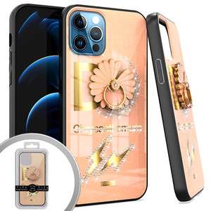 iPhone 12/12 Pro (6.1) MM Bling Ring Case Daisy Rose Gold
