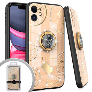 iPhone 12 Pro Max 6.7 MM Bling Ring Case Time Design Rose Gold