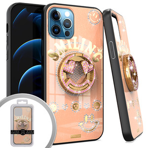 iPhone 12 Pro Max 6.7 MM Bling Ring Case Smiling Rose Gold