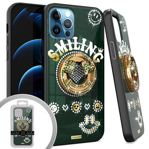 iPhone 12 Pro Max 6.7 MM Bling Ring Case Smiling Green