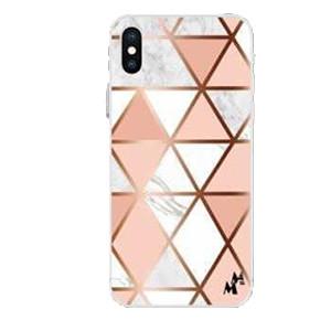 Iphone 12 Pro Max 6.7 MM Design Hybrid Pink & Gold Rhombus