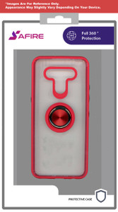 Moto G Power 2021 MM Clear Magnet Ringstand Red