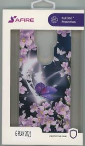 MOTO G PLAY 2021 MM Design Hybrid Purple Butterfly