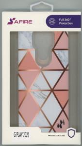 MOTO G PLAY 2021 MM Design Hybrid Pink & Gold Rhombus