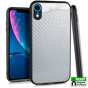 iPhone XR MM Slim Armor Case Silver Carbon Fiber