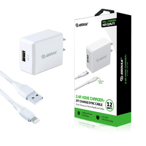 ESOULK 12W Home Charger W Lightning USB CABLE 5ft- WHITE